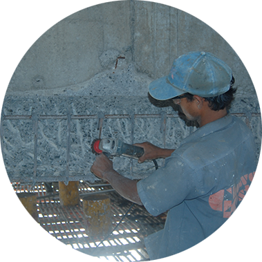 chowgule constructions chemicals concrete repair and rehabilitation buffing the steel with grinders