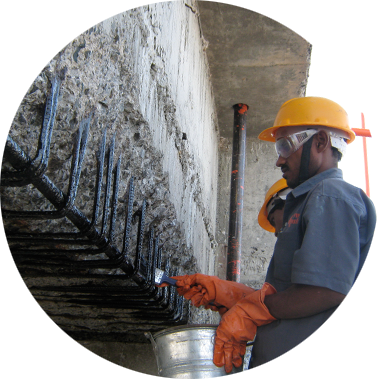 chowgule constructions chemicals concrete repair and rehabilitation applying the high performance anti corrosive coating